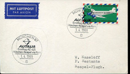 66523 Germany,  Special Postmark Munchen 1969  ALITALIA  First Flight Munchen Neapel  Via Rom - Andere (Lucht)