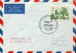 66524 Austria, Circuled Cover 1970 With First Flight ALITALIA  Wien  Roma  Mit DC-9 - Andere (Lucht)