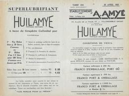 Tarif 1937 / Ets AMYE / Huile Automobiles, Armes, Cycles / Lubrifiant / Villemomble 93 - Cars