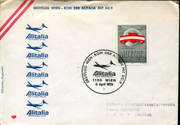66525 Austria, Circuled Cover 1970 With First Flight ALITALIA  Wien  Roma  Mit DC-9 - Andere (Lucht)
