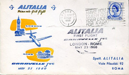 66526 England, Special Cover For The First Flight ALITALIA 1960  London Rome  With Jet Caravelle - Andere (Lucht)