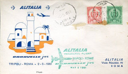 66528 Libya Special Cover For The First Flight ALITALIA  1961  Tripoli  Roma - Andere (Lucht)