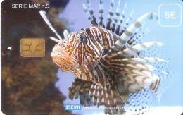 """TARJETA DE ISERN DE UN PEZ CON """"NO UTILIZABLE. SOLO PARA COLECCIONISTAS"""" (RARA) FISH - Pesci"""