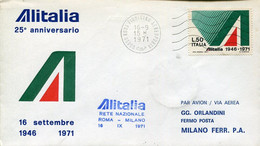 66531 Italia, Special Cover For The 25th Anniversary Of ALITALIA  September 1971 - Andere (Lucht)