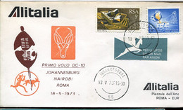 66532  South Africa, Special Cover For The First Flight With DC-10 ALITALIA  Johannesburg Roma - Andere (Lucht)