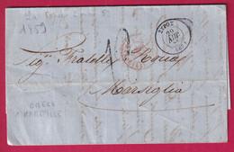 LETTRE DE LA CANEE GRECE CRETE GREECE 1859 TAXE TAMPON 12 POUR MARSEILLE 1859 - ...-1861 Prephilately