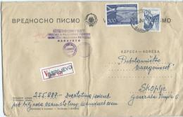 "BIG COVER Yugoslavia Sarajevo Value Letter V - Letter Via Skopje.stamp : Airmail - Airplanes,wax Stamp,,ENERGOINVEST"" - Briefe U. Dokumente"