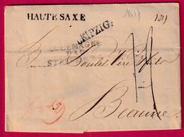 MARQUE LEIPZIG HAUTE SAXE ENTREE ALLEMAGNE PAR STRASBOURG 1817 TEXTE DRESDEN POUR BEAUNE COTE D'OR - 1801-1848: Voorlopers XIX