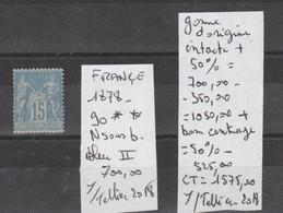 TIMBRES DE FRANÇE 1878 NEUF ** N SOUS B BLEU II  Nr 90 ** GOMME D ORIGINE INTACTE + 50% + TRES BON CENTRAGE (50%) - 1876-1898 Sage (Type II)