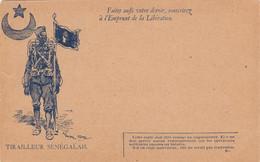 CARTE NEUVE. EN FRANCHISE. TIRAILLEUR SENEGALAIS. FAITES AUSSI VOTRE DEVOIR. SOUSCRIVEZ A L'EMPRUNT DE LA LIBERATION - FM-Karten (Militärpost)