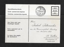 1934 HEIMAT ST.GALLEN → Geschäftsantwortkarte Confitüren Lenzburg Von HERBRUGG Nach St.Gallen - Briefe U. Dokumente