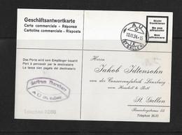 1934 HEIMAT ST.GALLEN → Geschäftsantwortkarte Confitüren Lenzburg Von AU Nach St.Gallen - Briefe U. Dokumente