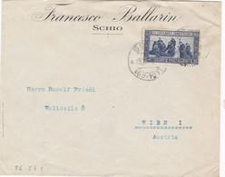 1927 Busta Da Schio (con Frazionario) Per Vienna Con Lire 1,25 S. Francesco , Dentellatura Abbastanza Buona. - Marcophilia
