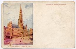 CPA Précurseur Non écrite Belgique BRUXELLES Hôtel De Ville Publicité Au Dos De La Raffinerie De Dunkerque - Monuments