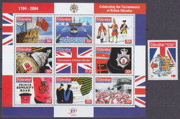 2004Gibraltar1068-1077KL300th Anniversary Of The British Colony Of Gibraltar12,00 € - Boten