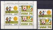 Poland 1974 Olympic Games Munich, Football Soccer Set Of 2 + S/s MNH - Ete 1972: Munich
