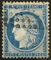 YT 60B LGC (Planchage 67G5 ? À Vérifier) (°) Obl 1871-75 25c Bleu Type II Cérès (50 Euros) France – Flo - 1871-1875 Ceres