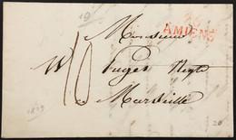 Lettre Amiens Somme (76) à Marseille Marque Linéaire 28x10 Rouge 76 AMIENS 14.1.1819 – 6krlot - 1801-1848: Voorlopers XIX