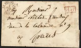 RARE Lettre La Délivrance Calvados (13) Port Payé PP Rouge à Paris 2.7.1847 – 8bleu - 1801-1848: Vorläufer XIX