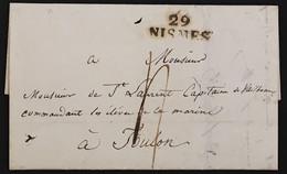 Lettre Nîmes Gard (29) Marque Linéaire 29 NISMES Pour Toulon Commandant élèves De Marine Octobre 1820 – 8bleu - 1801-1848: Voorlopers XIX