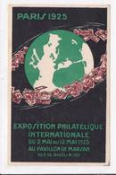 CP PARIS 1925 Exposition Philatelique Internationale Au Pavillon De Marsan Rue De Rivoli - Beursen Voor Verzamellars
