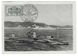 51 SM - SALON DE LA MARINE 1944 - SOUS-MARIN De 600 Tonnes LA CIRCÉ  - Cachet à Date 12  Juin 1944 - Posta Marittima