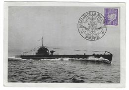 52 SM - SALON DE LA MARINE 1944 - SOUS-MARIN De 800 Tonnes AURORE - Cachet à Date 9  Juin 1944 - Posta Marittima