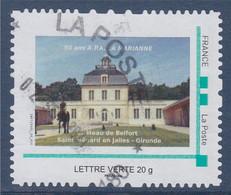 Château De Belfort Saint Médard En Jalles Gironde 50 Ans De L'Association La Marianne, Oblitéré LV Cadre Vert Philaposte - Gepersonaliseerde Postzegels (MonTimbraMoi)