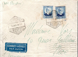 LETTRE 1936 - POSTEE A PALMA DE MALLORQUE - CACHETS POSTAUX ARRIVEE BARCELONE, NICE - - 1931-50 Covers
