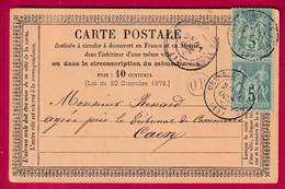 N°75 X2 CAD CREVECOEUR EN AUGE CALVADOS OR ST LOUP DE FRIBOIS POUR CAEN - 1877-1920: Période Semi Moderne