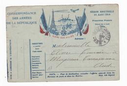 Carte En Franchise Militaire 2 Drapeaux - Tour Eiffel - FM-Karten (Militärpost)