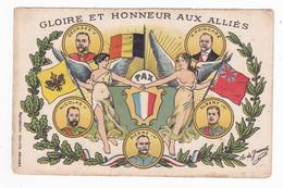 Carte En Franchise Militaire - Gloire Et Honneur Aux Alliés - Georges V - R. Poincaré - Nicolas II - Albert Ier - FM-Karten (Militärpost)