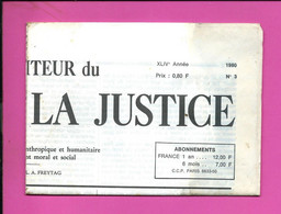 JOURNAL : Le Moniteur Du Règne De La Justice N°3  Année 1980 - 1950 - Oggi