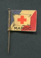 """WW1 Drapeau """"Journée De Poilu - Maroc / Sociétés De Secours Aux Blessés Militaires - La Croix Rouge"""" WWI - 1914-18"""