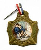 """WW1 - Insigne De Poilu En Carton Avec Ruban D'origine """"Journée Nationale Des Orphelins De La Guerre"""" French Medal WWI - 1914-18"""