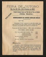 Folheto Antigo 1932 Feira Franca VILA REAL De TRAZ Os MONTES Preço Das Barracas Av.Carvalho Araujo PORTUGAL - Publicidad