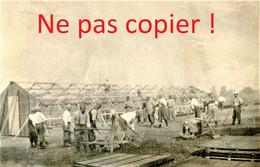 PHOTO FRANCAISE - CONSTRUCTION DE BARAQUES ADRIAN A LESPINOY PRES DE MONTREUIL PAS DE CALAIS 1916 - GUERRE 1914 1918 - 1914-18