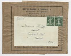 FRANCE SEMEUSE 2C PAIRE BANDE COMPLETE PARIS 1933 AU TARIF - 1906-38 Semeuse Con Cameo