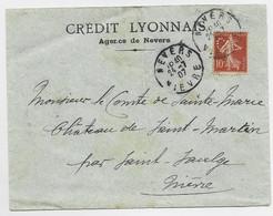 FRANCE SEMEUSE 10C MAIGRE N°135 PERFORE CL LETTRE CREDIT LYONNAIS NEVERS 24.7.1907 NIEVRE - 1906-38 Semeuse Con Cameo