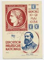 FRANCE SEMEUSE 20C LILAS ENTIER CARTE POSTALE EXPO PHIL NATIONALE GRENOBLE 1934 ALBERT BARRE JULES DRAIM - 1906-38 Semeuse Con Cameo