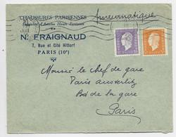 FRANCE DULAC 5FR+1FR LETTRE PNEUMATIQUE MECANIQUE PARIS 128 10 JUIL 1945 AU TARIF PEU COMMUN - 1944-45 Marianne Of Dulac