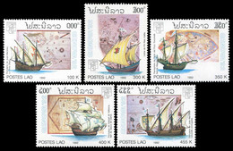 Laos 1992 - YT 1046/50 ; Mi# 1319/23 MNH Ships Of Discovery And Old World Maps - Laos