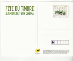 "Entier Postal ""Fête Du Timbre 2021"", Le Timbre Fait Son Cinéma, Automobile Méhari Devant Gendarmerie - Cartoline Postali E Su Commissione Privata TSC (ante 1995)"