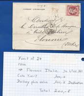 Lettre Avec Timbre  Napoléon N°24 Oblitération: PARIS 4/2/1867  à Destination De Florence  Italie - 1849-1876: Klassieke Periode