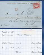 Lettre Avec Timbre  Napoléon N°24 Oblitération: PARIS  1867   à Destination De TURIN  Italie - 1849-1876: Klassieke Periode