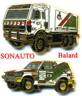 2 Pin's Sonauto Mitsubichi Mercedes Auto Truck Camion Rallye Ballard - Other