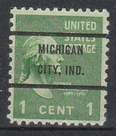 USA Precancel Vorausentwertungen Preos, Bureau Indiana, Michigan City 804-72 - Vorausentwertungen