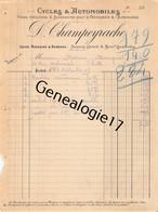 30 0891 ALAIS ALES GARD 1909 Cycles Automobiles D. CHAMPEYRACHE Avenue Carnot Et Bd Gambetta - Cars