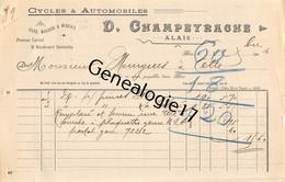 30 0893 ALAIS ALES GARD 1906 Cycles Automobiles D. CHAMPEYRACHE Avenue Carnot Et Bd Gambetta Dest MOURGUES - Cars