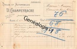 30 0894 ALAIS ALES GARD 1907 Cycles Automobiles D. CHAMPEYRACHE Avenue Carnot Et Bd Gambetta Dest MOURGUES - Cars